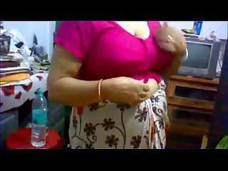 Puran dhaka Aunty stripes saree infront of me in her room