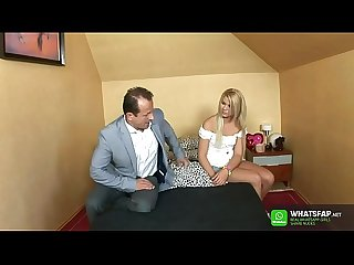 Russian / Czech Stepdad fuck stepdaughter - Daughter give first time blowjob and get pussy..