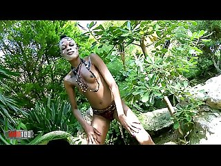 Horny ebony Bianka Blacka getting naked in the jungle
