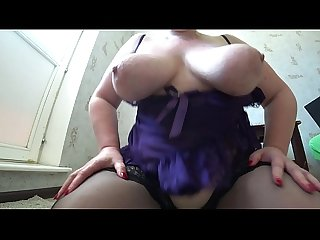 Busty milf in stockings jumps from above on dildo, her big butt shaking, big tits..