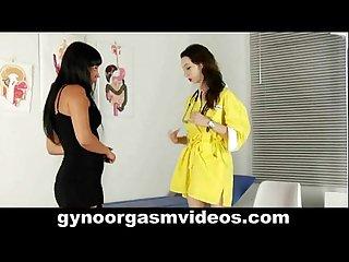 Lesbian gynecologist seduces her sexy brunette patient