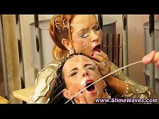 Watch bukkake lesbians get soaked