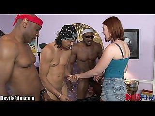 Devilsfilm interracial redhead gangbang