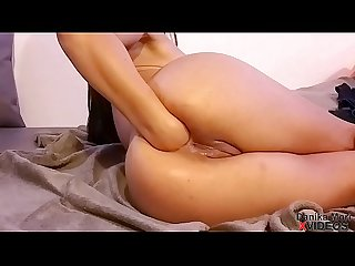 Multiorgasm horny babe squirting like a fountain after deep anal fist