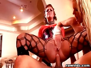 Blonde Wrapped In Plastic Dominated By Her Sex Master And Mistress