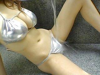Yoko matsugane in silver bikini