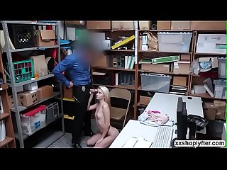 Shoplifter Riley Star watches LPs cock fucking her pussy