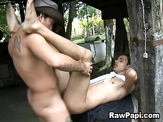Latin gay get his tight ass bareback fucked