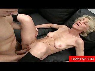 Skinny granny gets a facial free mature porn