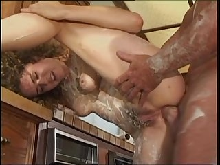 bruette hairy girl fuck with big cock in the kitchen