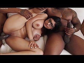 Teen in glasses and with nice tits threesome interracial