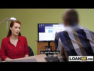 Loan gets approved for this huge tits redhead milf