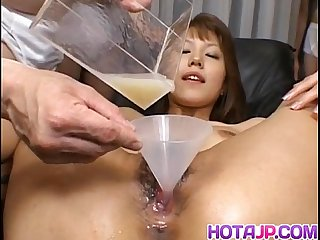 Arika takarano asian chick is fucked hard in a gangbang then filled with cum