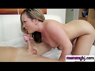 An amazing deepthroat with blonde milf stepmom