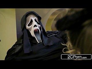 Horny zoey monroe sucking big dick behind her boyfriend S back on Halloween