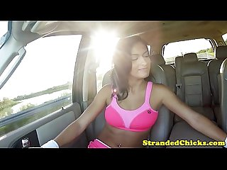 Sexy hitch hiking teen gags on dick