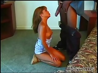 Shameless girl sucking a cock and filmed