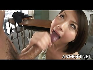 Asian milf can't live without engulfing balls