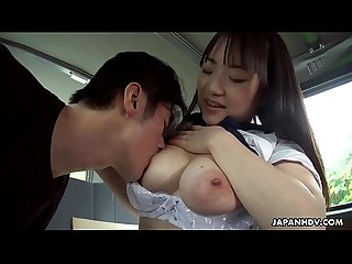Japanese schoolgirl, Mikoto Mochida is sucking a stranger's cock, uncensored