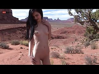Eroberlin Zoe Rush skinny teen outdoor pissing Monument Valley long hair cutie