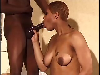 Short haired ebony enjoying bending over and take it from the back