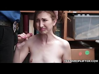 Young Naive Amateur Blonde Teenager Caught Shoplifting Agrees To Let Officer Fuck Her