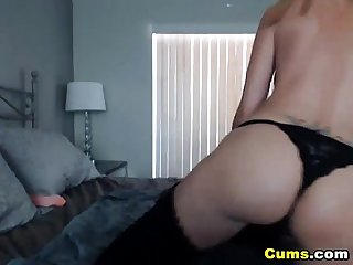Russian blonde fingering her tight pussy