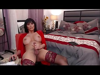 Busty Tranny Jerking Off Until She Cums On Herself
