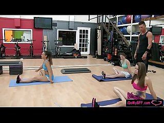 Naughty teen besties group sex in the gym by the trainer