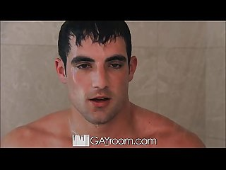 Gayroom hot guy gets horny after watching his man shower