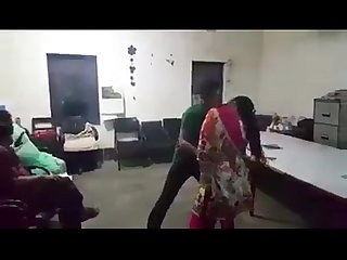 Hot milf lady dancing in office