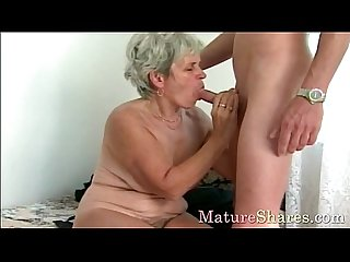 Mature female gets young cock