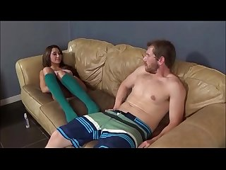 Teen sister jerks brother s big cock with her feet marina angel brat attack