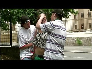 Risky public teen sex threesome on the street with Alexis Crystal and 2 guys