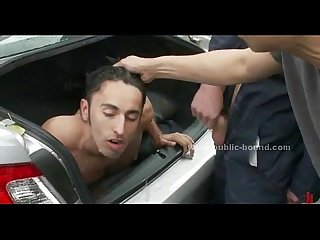 Victim getting fucked in gay group sex
