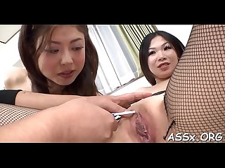 Oriental blowbang with sexy anal