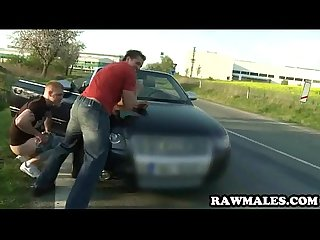 Stud gives his man road head before getting barebacked