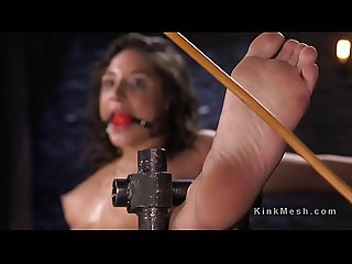 Bound slave with speculum into cunt