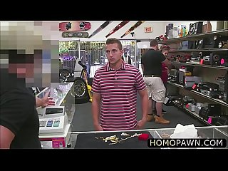 Young dude gets fucked in the ass and sucks two dicks in the pawnshop