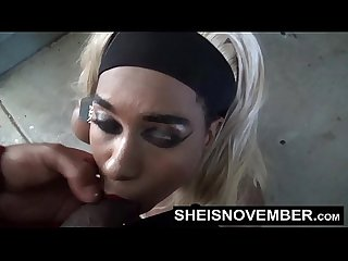 HD Cumshot Cum Swallow Facial Blowjob By Pretty Petite Blonde Hair Ebony In Public POV Tight Lips..