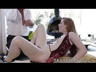 Cute Ts redhead shiri trap banged and squirted with jizz