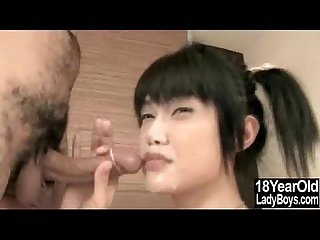 Cum sprayed teen ladyboy
