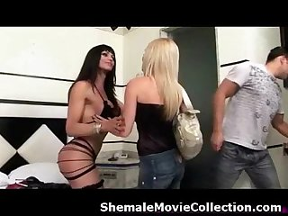 Shemales and girls team up to fuck boys