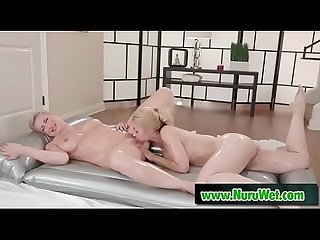 Sarah Vandella & Ryan Keely licking pussy covered in nuru gel