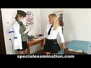 Blonde babe gets gyno exam