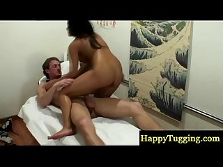 Asian handjob masseuse fucks client