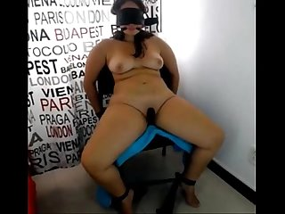 Hubby tied wife blindfold and exposed