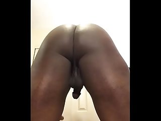 Yummy crossdresser strips and rides big cock
