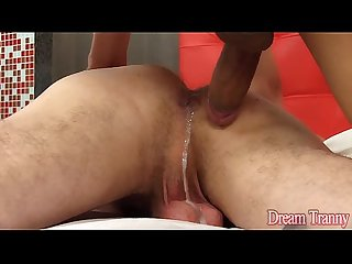 Shemale cums in a guys ass