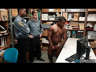 Black thief fucked by two security guards